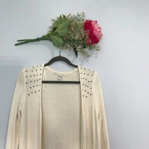 Love by Design | Open Front Knit Studded Cardigan